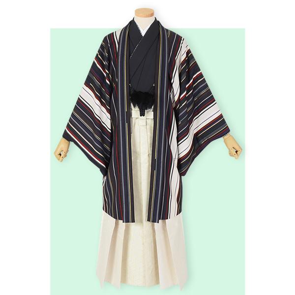 Y028-Y165 黒 縦縞×クリーム色柄袴